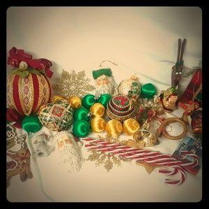 Vintage Christmas Ornament Large Lot Santa Deer